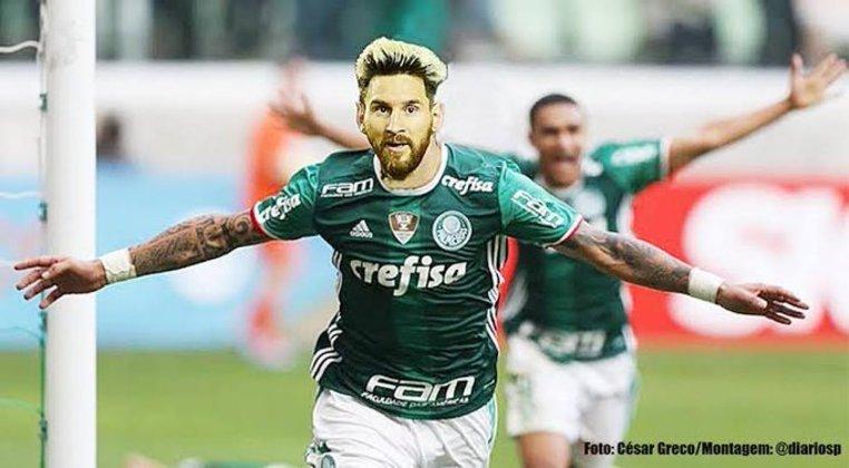 Lionel Messi com a camisa do Palmeiras