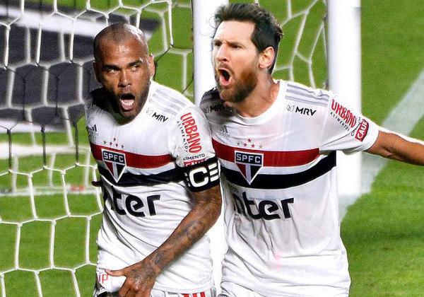 Lionel Messi fazendo dupla novamente com Daniel Alves, agora no São Paulo