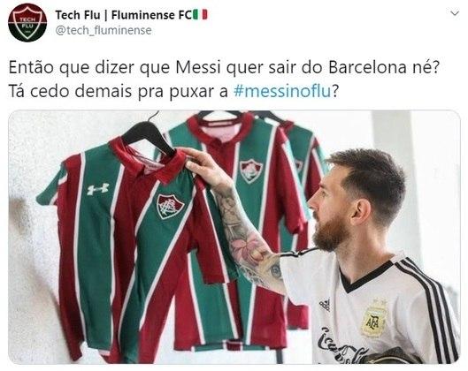 Lionel Messi já tem intimidade com a camisa do Fluminense