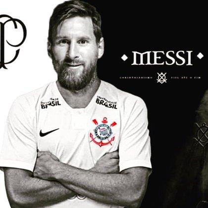 Lionel Messi sendo anunciado pelo Corinthians