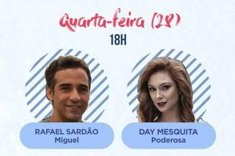 Rafael Sardão e Day Mesquita farão a última live nesta quarta (28) no perfil oficial de Amor Sem Igual