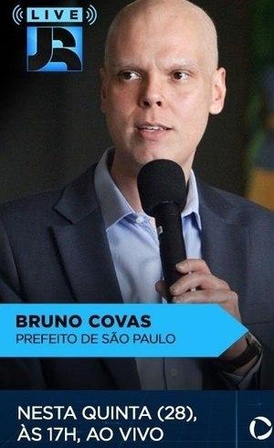 Prefeito Bruno Covas é o convidado da Live JR desta quinta (28)