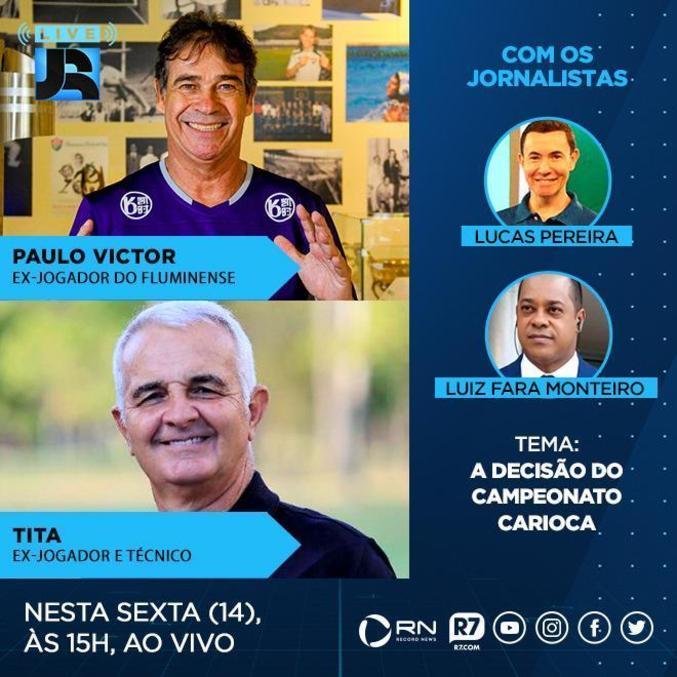 Live JR entrevista os ex-jogadores Tita e Paulo Victor, nesta sexta-feira
