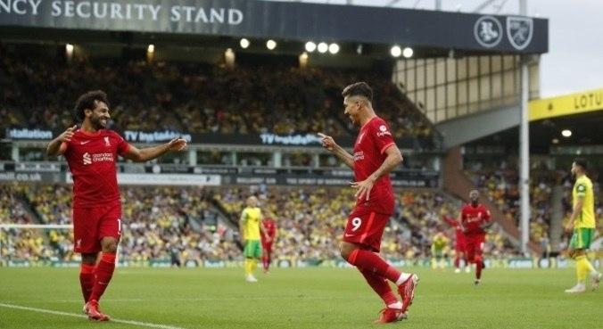 Salah e Firmino marcam em vitória do Liverpool sobre o Norwich, neste sábado (14)