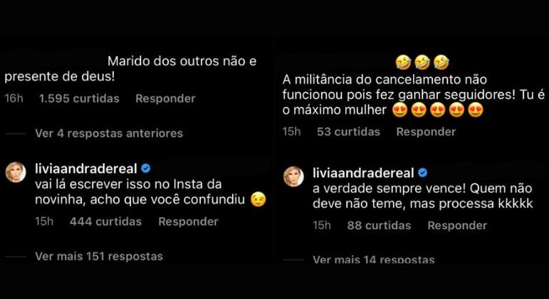 Lívia Andrade rebate comentários dos seguidores