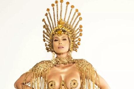 Livia Andrade mostra look que usará na Paraíso da Tuiuti