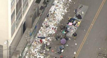 Cracolândia, no centro de São Paulo: lixo espalhado por toda parte