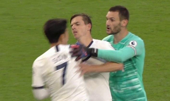 Lloris e Son: uma confusão entre o francês Lloris e o sul-coreano Son chamou atenção na vitória do Tottenham sobre Everton, por 1 a 0, em julho do ano passado, pela Premier League. Os atletas quase chegaram às vias de fato e tiveram que ser contidos.