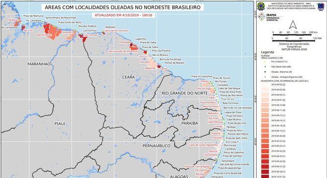 Localidades atingidas pelo vazamento de óleo