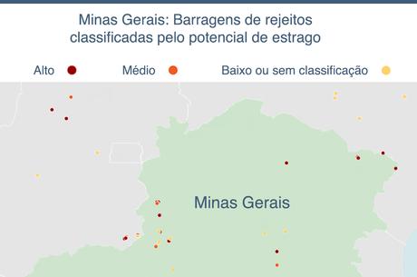 Localização de classificação das barragens em Minas Gerais