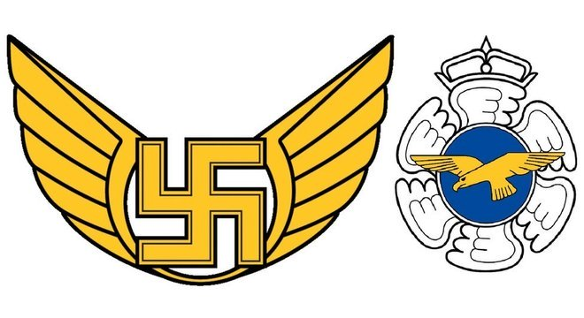 O antigo emblema da Força Aérea Finlandesa (à esquerda) tinha uma suástica