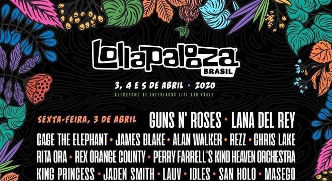 Lollapalooza Brasil 2020 por dia