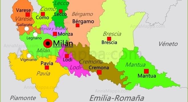 A Lombardia e a localização de Milão, Bérgamo e Brescia
