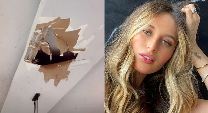 Buraco no teto causou transtorno para a influenciadora Lorena Carvalho