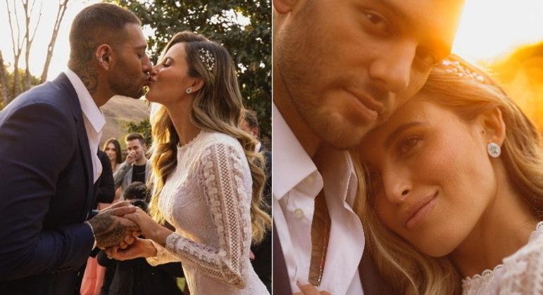 Lorena Carvalho e Lucas LuccoO casal celebrou a união com uma cerimônia na casa do cantor, em Uberlândia, Minas Gerais, com apenas alguns familiares presentes