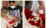 Lorena Improta e Léo Santana deixaram a maternidade com a filha, Liz, no colo, na tarde desta terça-feira (28), em Salvador, na Bahia