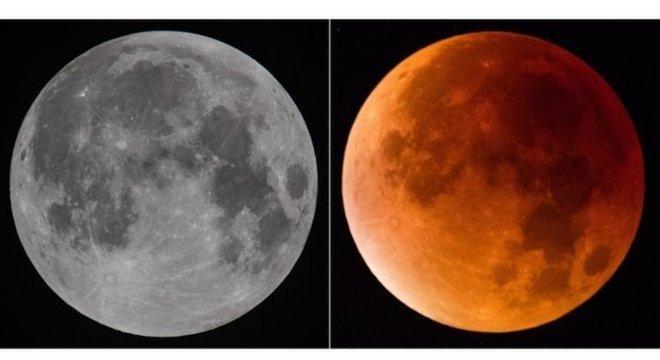 Quando acontece um eclipse total, a Lua fica com um tom avermelhado