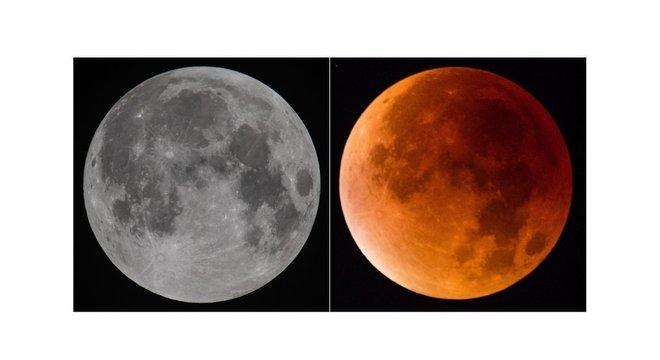 """Quando acontece um eclipse total, às vezes a Lua pode ficar com uma cor avermelhada ou alaranjada, por isso algumas pessoas chamam o fenômeno de """"lua de sangue"""""""
