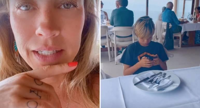 Luana Piovani mostra filho, Dom, mexendo no celular