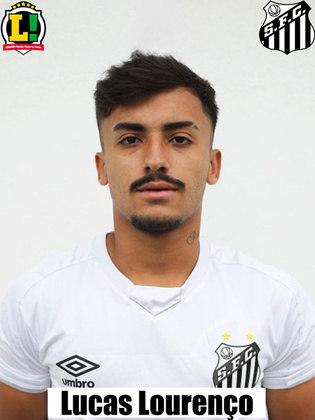 LUCAS LOURENÇO - 5,5 - Entrou na vaga de Jean Mota e não melhorou o meio-campo da equipe santista, errando passes e perdendo bolas na defesa e ataque.