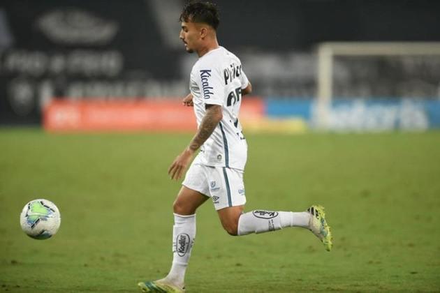 Lucas Lourenço - Clube: Santos - Posição: Meia - Idade: 20 anos - Jogos completados no Brasileirão 2021: 0 jogos - Situação no clube: Concorrência forte na posição