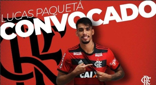 Lucas Paquetá, festejado pelo Flamengo após convocação da seleção brasileira