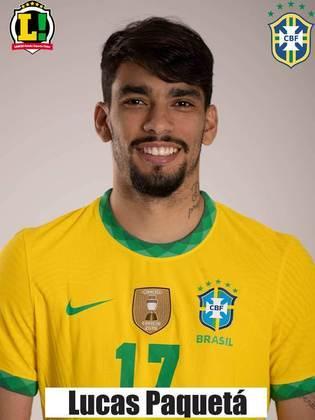 Lucas Paquetá - 7,0 - Um dos melhores jogadores do Brasil na partida. Bem nos desarmes, organizou e criou as melhores chances da Seleção, além de ter arriscado chutes perigosos de fora da área.