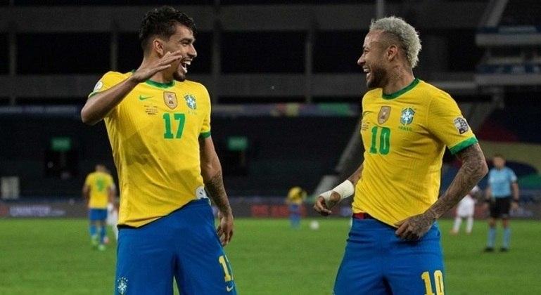 Lucas Paquetá e Neymar na comemoração do gol brasileiro