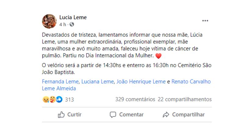 Texto publicado pelos filhos de Lúcia Leme em uma rede social