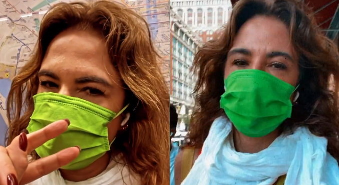 Em Nova York, Luciana Gimenez passeou a pé e de metrô