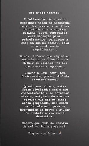 Luciana no Instagram: 'Abalada emocionalmente'