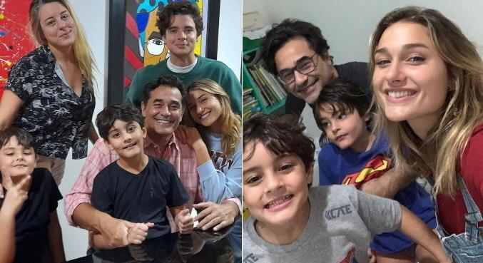 No Dia dos Pais, Szafir posou com os três filhos, o genro e a mulher