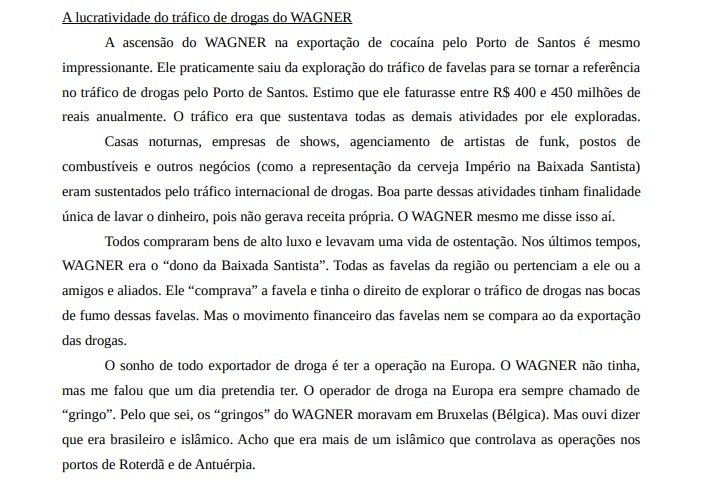 """Trecho da delação de Felipe sobre os lucros de """"Cabelo Duro"""" (Reprodução)"""