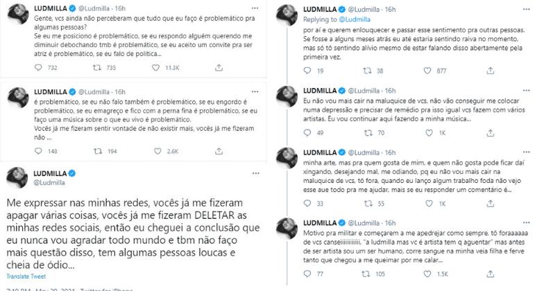 Ludmilla desabafa nas redes sociais