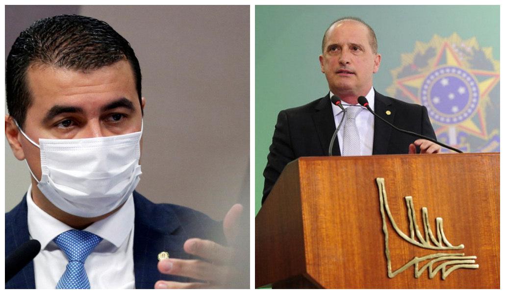 Onyx Lorenzoni (à dir.) e o deputado Luis Miranda (DEM-DF)