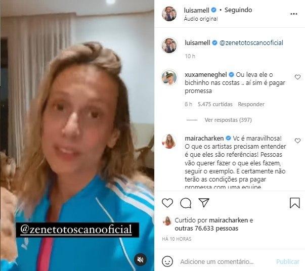 Após Luisa Mell, Xuxa critica Zé Neto por usar animais em viagem