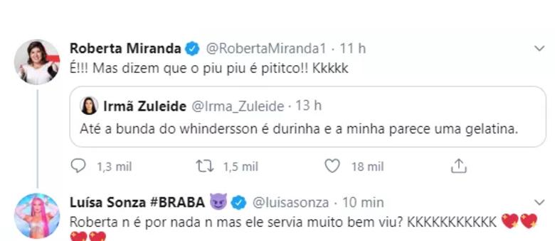 Resposta de Luísa ao comentário de Roberta Miranda