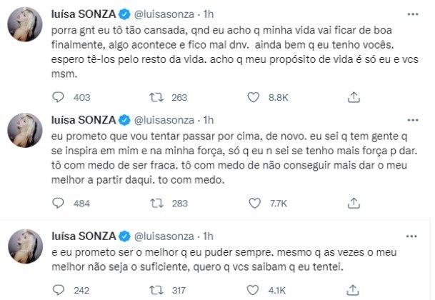 Desabafo de Luísa Sonza