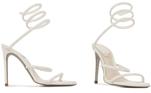 Feita na Itália, a sandália tem na composição do forro: Couro de bzerro 100%, couro de cabrito 100%. Exterior: Cetim 100%, Viscose 68%, Seda 32%