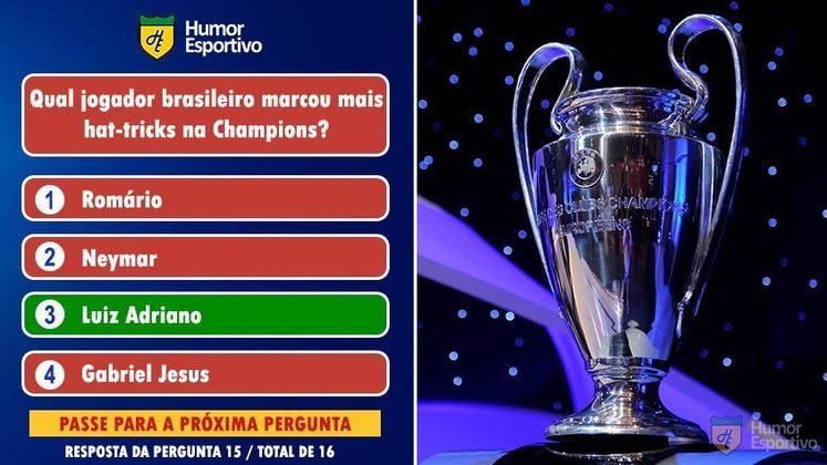 Luiz Adriano marcou 3 hat-tricks na Champions, enquanto Neymar, Gabriel Jesus e Adriano têm 2 hat-tricks cada