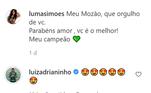 No Instagram, a atriz postou a primeira foto do casal, com a legenda: 'Meu Mozão, que orgulho de você. Parabéns amor, você é o melhor! Meu campeão'. Luiz Adriano respondeu com emojis apaixonados