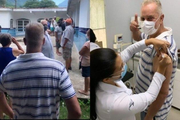 Luiz Fernando Guimarães, de 71 anos, recebeu a primeira dose da vacina contra a covid-19, no dia 26 de março, em Itaguaí, na Região Metropolitana do Rio do Rio de Janeiro. O ator exibiu o momento especial por meio de fotos nas redes sociais.