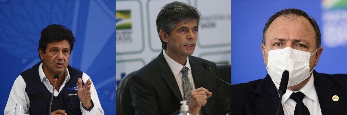 Na imagem, ex-ministros Luiz Mandetta, Nelson Teich e general Eduardo Pazuello