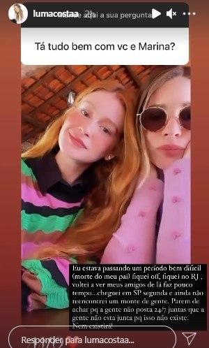 Luma Costa explica afastamento de Marina Ruy Barbosa: 'Período difícil'