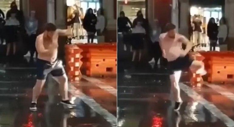 Lutador amador foi flagrado dando socos e chutes em nada no meio da rua