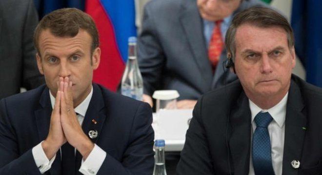 Macron, fotografado ao lado de Bolsonaro na reunião do G20, no Japão