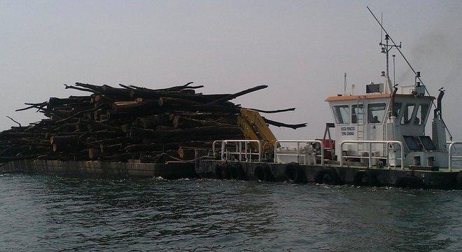 Madeira extraída do lago Volta; modo de transporte pode impactar quantidade de emissões