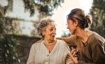 mãe, filha, família, idosa, velha aposentado, mulher