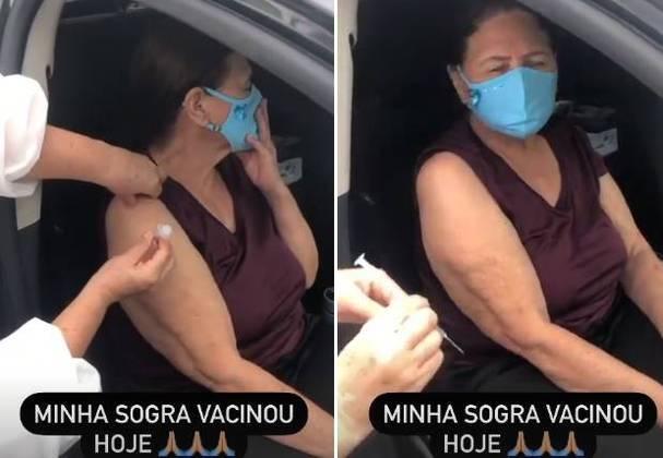 Graciele Lacerda compartilhou com seguidores, nas redes sociais, a imunização de Dona Helena, mãe de Zezé Di Camargo e Luciano. Aos 75 anos, a matriarca dos irmãos sertanejos recebeu a primeira dose da vacina contra acovid-19no dia 22 de março