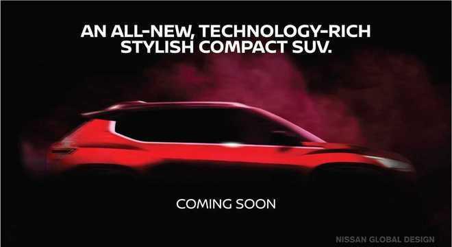 Teaser anterior do SUV Magnite que tem menos de 4m de comprimento usa plataforma CMF-A+